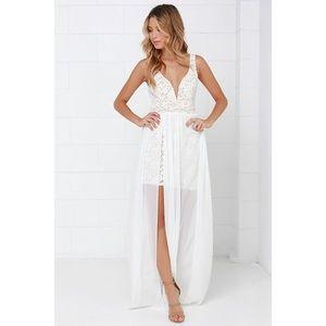 Lulu's White & Nude Lace Maxi Dress Size S